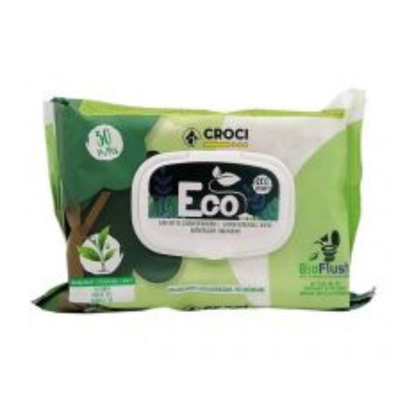 CROCI Eco Wipes Tea&Chlorhexidine drėgnos servetėlės su žalia arbata 30vnt 20x30cm