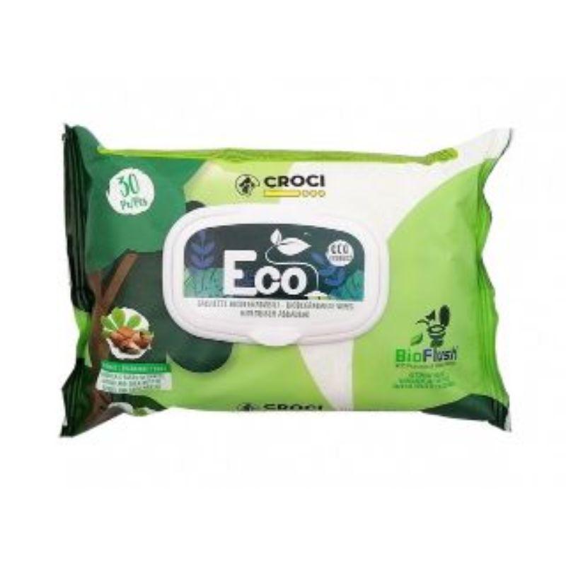 CROCI Eco Wipes Almond&SheaButter drėgnos servetėlės su migdolais 30vnt 20x30cm