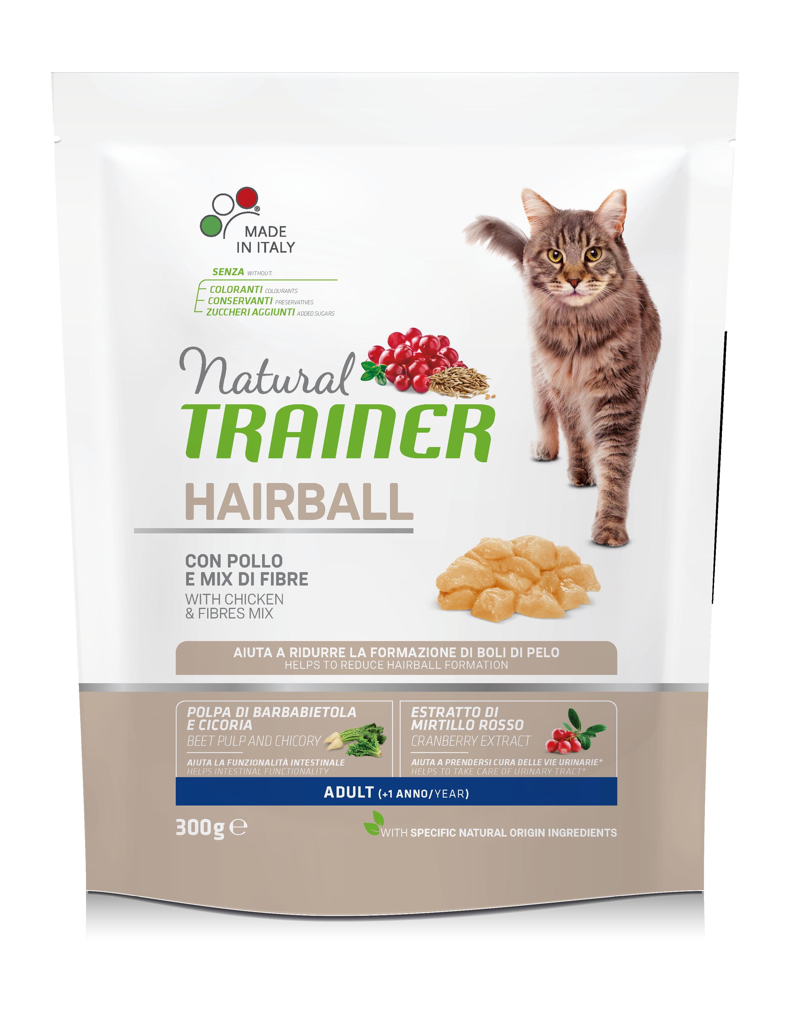 NATURAL TRAINER Cat Hairball chicken su vištiena 300g