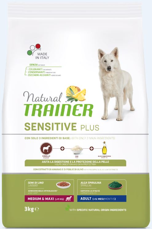 NT DOG SENSITIVE PLUS ADULT M/M HORSE (arkliena) 3kg