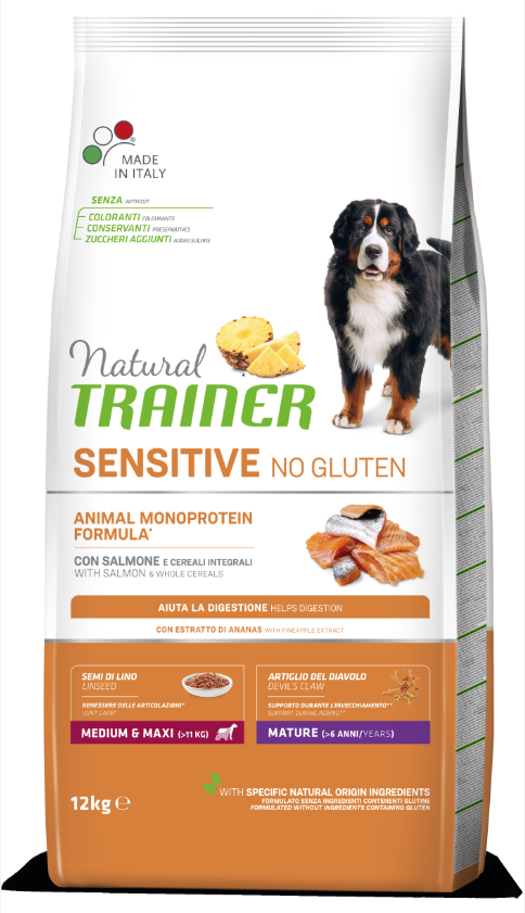NT DOG SENSITIVE NO GLUTEN MATURITY M/M (lašiša) 12kg