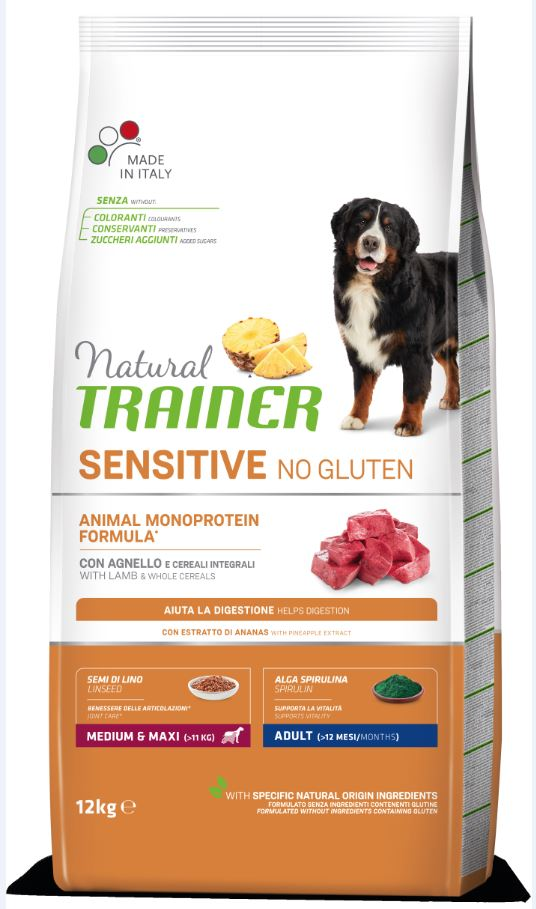 NT ADULT DOG SENSITIVE NO GLUTEN M/M LAMB (ėriena) 12kg