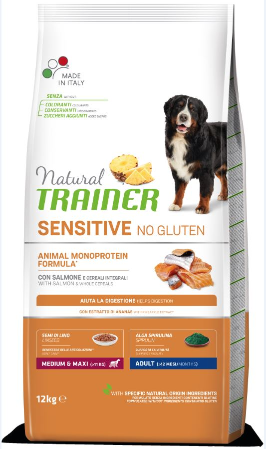 NT ADULT DOG SENSITIVE NO GLUTEN M/M SALMON (lašiša) 12kg