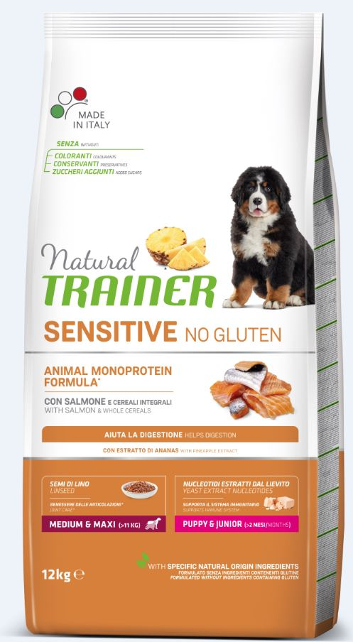 NT DOG SENSITIVE NO GLUTEN PUPPY&JUNIOR M/M SALMON (lašiša) 12kg
