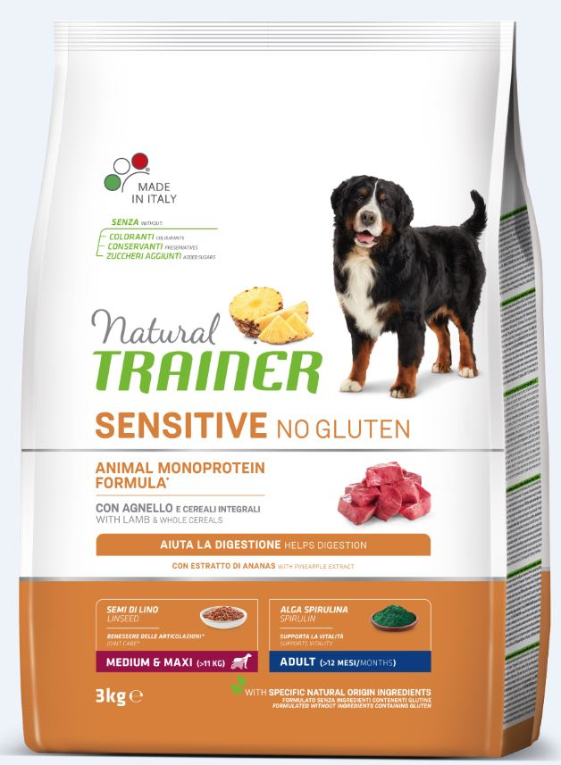 NT ADULT DOG SENSITIVE NO GLUTEN M/M LAMB (ėriena) 3kg