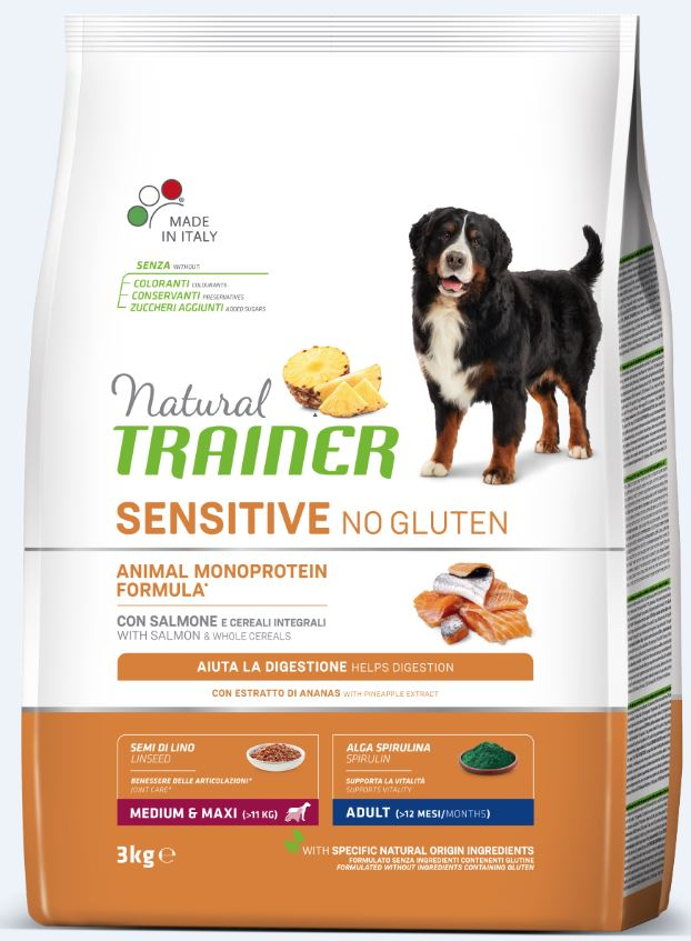 NT ADULT DOG SENSITIVE NO GLUTEN M/M SALMON (lašiša) 3kg
