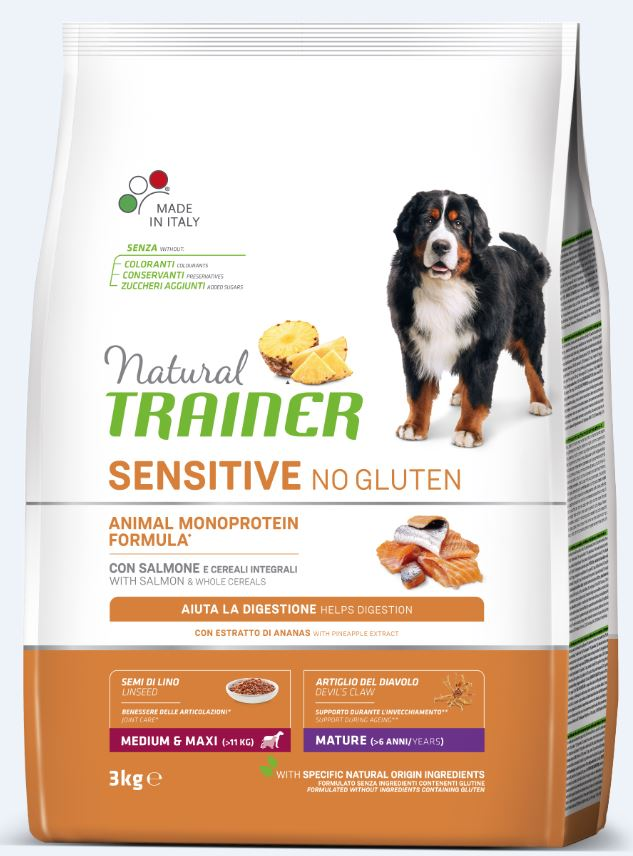 NT DOG SENSITIVE NO GLUTEN MATURITY M/M (lašiša) 3kg