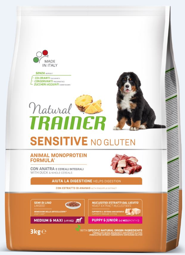 NT DOG SENSITIVE NO GLUTEN PUPPY&JUNIOR M/M DUCK (antiena) 3kg
