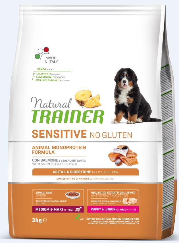 NT DOG SENSITIVE NO GLUTEN PUPPY&JUNIOR M/M SALMON (lašiša) 3kg