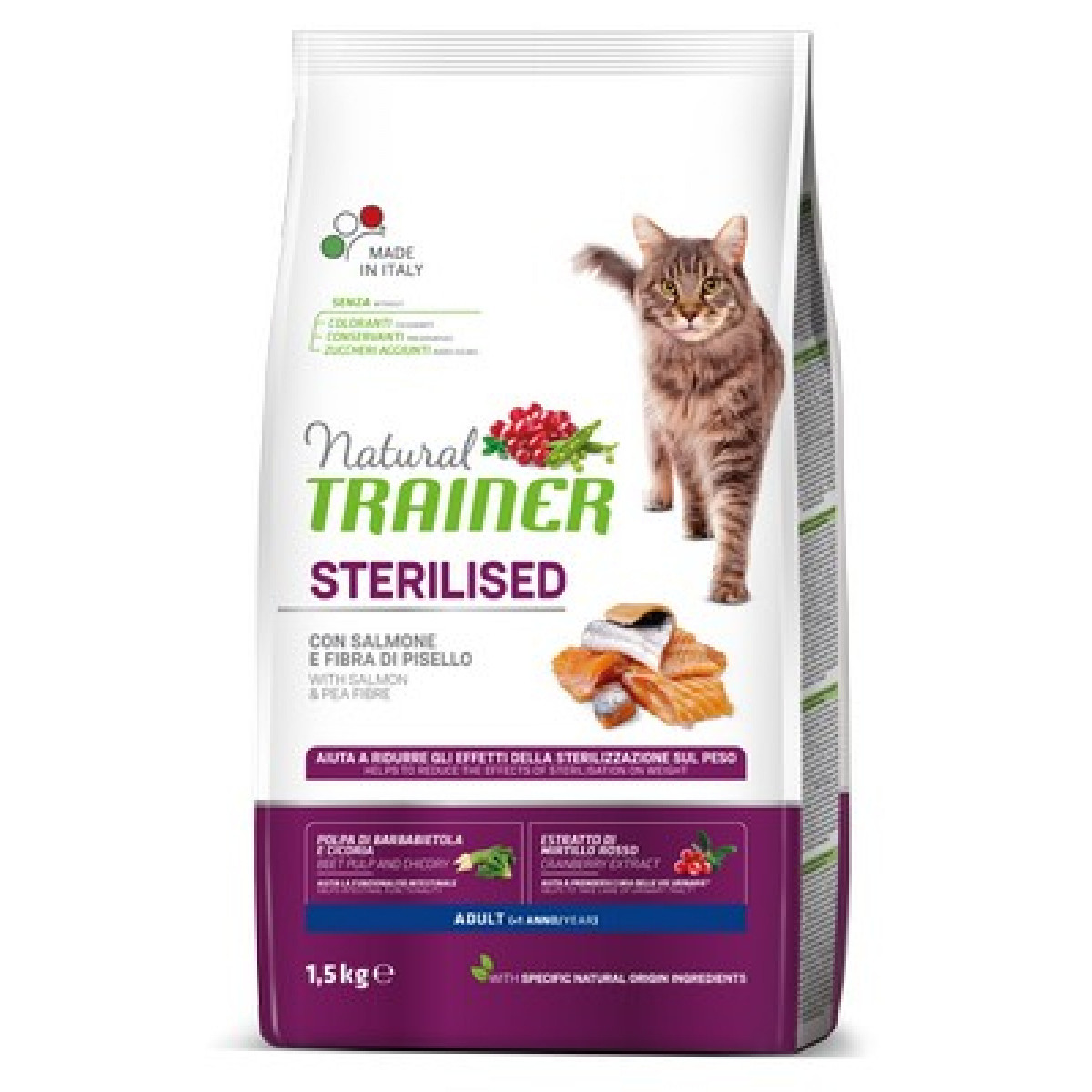 NATURAL TRAINER Cat adult salmon sterilizuotom su lašiša 1.5kg