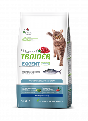 NATURAL TRAINER CAT EXIGENT BLUE FISH su mesvaja žuvimi 1.5kg