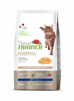 NATURAL TRAINER Cat Hairball chicken su vištiena 1.5kg