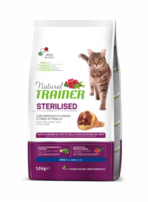 NATURAL TRAINER Cat adult HAM sterilizuotom su vytintu kumpiu 1.5kg
