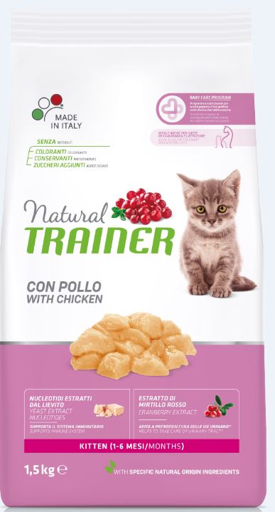 NATURAL TRAINER Cat Kitten Chicken kačiukams su vištiena 1.5kg