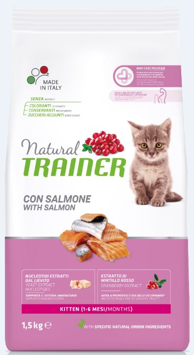 NATURAL TRAINER Cat Kitten Salmon kačiukams su lašiša 1.5kg