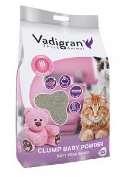 VADIGRAN kačių kraikas Clump Babypowder 12kg