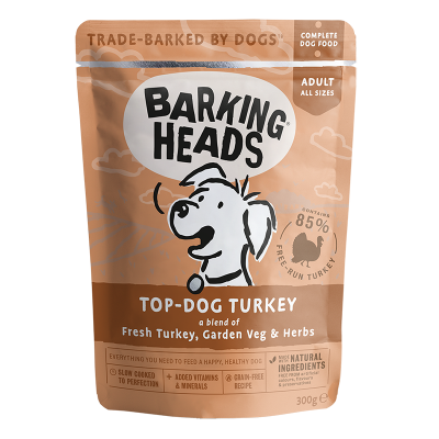 BARKING HEADS Top Dog Turkey konservai šunims su kalakutiena 300g