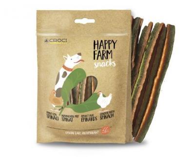 HAPPY FARM skanėstai šunims su vištiena ir špinatais, 80g