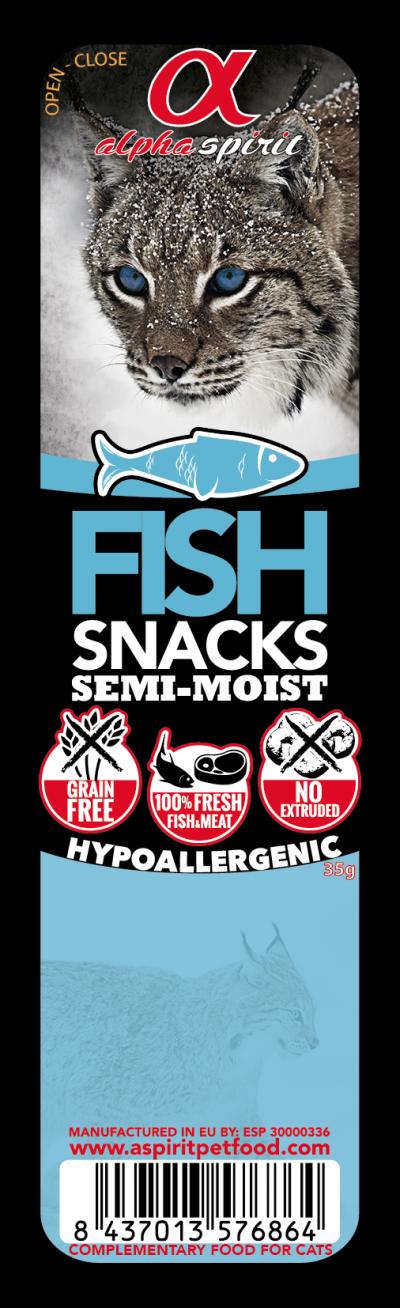 ALPHA SPIRIT Cat Fish Snack (Žuvis) kubeliai 35g