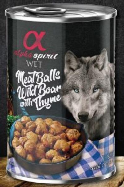ALPHA SPIRIT konservas šunims vištienos rutuliukai su šerniena ir čiobreliais 400g