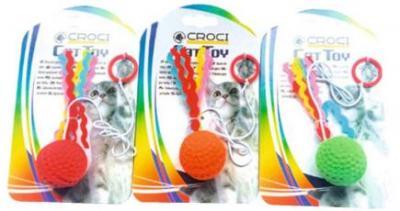 Žaislas katei FLYING BALL 4cm ant gumytės