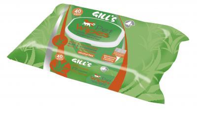 GILL'S servetėlės augintiniams su chlorheksidinu ir aloe vera, 40vnt