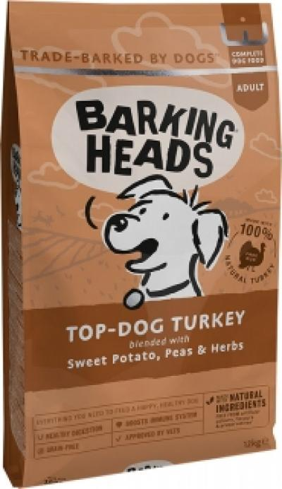 BARKING HEADS Top Dog Turkey Grain Free (Kalakutiena) 12kg