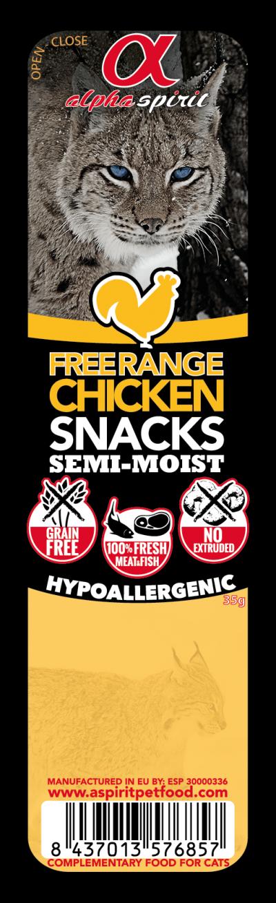 ALPHA SPIRIT Cat Free Range Chicken Snack (Vištiena) kubeliai 35g