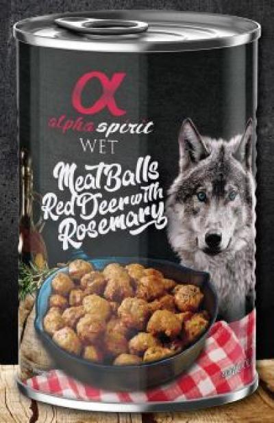 ALPHA SPIRIT konservai šunims vištienos rutuliukai su elniena ir rozmarinais 400g