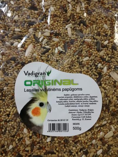 VADIGRAN ORIGINAL EXTRA vidutinėms papūgoms 0.5kg