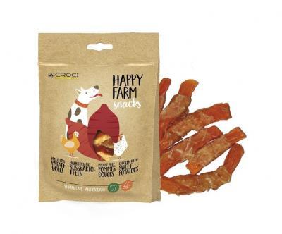 HAPPY FARM skanėstai šunims su vištiena ir saldžiomis bulvėmis, 80g