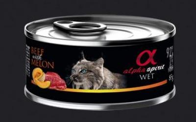 ALPHA SPIRIT CAT konservai katėms su jautiena ir melionais 85g