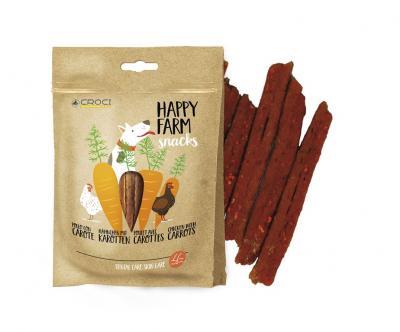 HAPPY FARM skanėstai šunims su vištiena ir morkomis, 80g